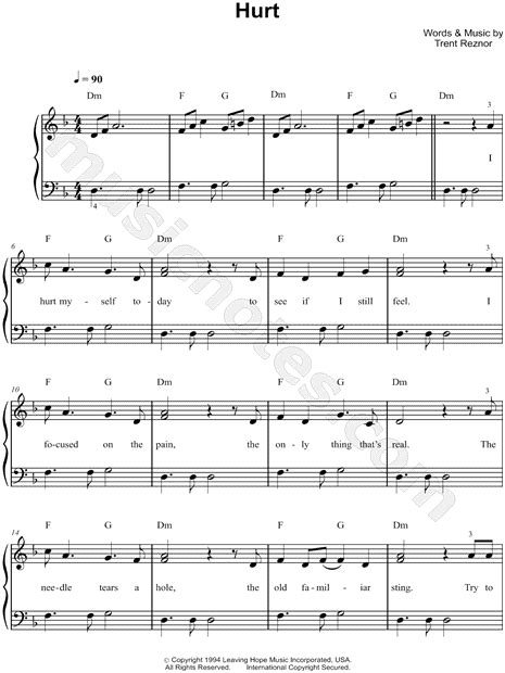 "Johnny Cash ""Hurt"" Sheet Music (Easy Piano) in D Minor"